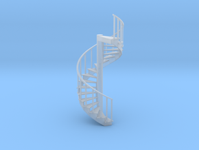 12' Spiral Stair 1:48 Left Railing in Frosted Ultra Detail