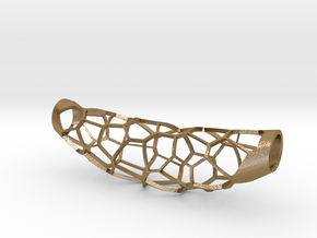 Voronoi 5 large pendant (50%infill) in Polished Gold Steel
