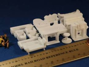 Living Room Stuff Big Collection HO Scale in White Strong & Flexible