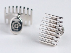 Stripe Top Cufflinks in Rhodium Plated