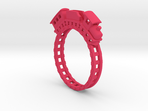 Tiny Train Ring.stl in Pink Strong & Flexible Polished
