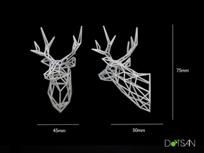 Small Stag Head Facing Right 75mm 1:12 Scale in White Strong & Flexible