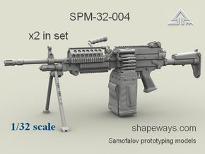 1/32 SPM-32-004 m249 MK48mod0 7,62mm machine gun in Frosted Extreme Detail