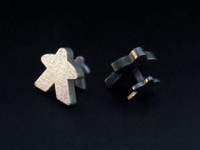 Meeple Cufflinks in Polished Nickel Steel