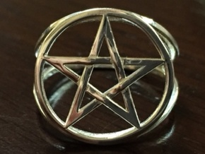 Pentacle ring (customize) in Polished Silver