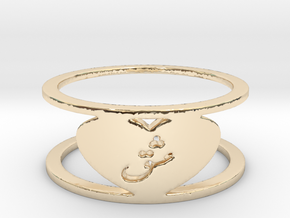 Heart Love Eshgh Ring, Ring Size 8 in 14k Gold Plated