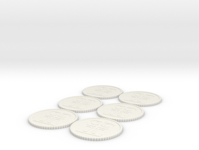 Inq Tokens (1,2,2,3,3,4) Roman Numerals in White Strong & Flexible