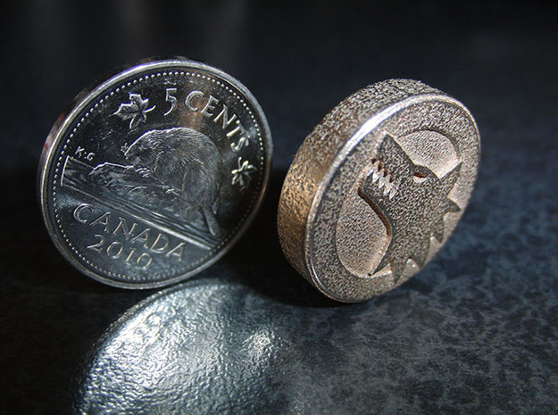 Wolf Head / Scorpion Tail Coin 3d printed Comparison: Canadian Nickel