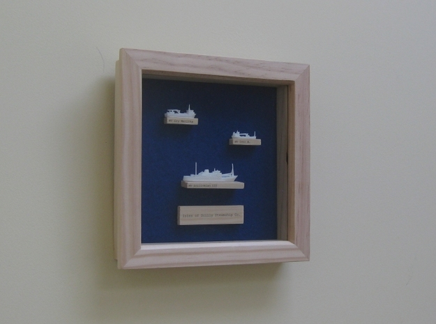 1:1200 Isles of Scilly Steamship Co 3d printed Ships displayed in a wooden frame