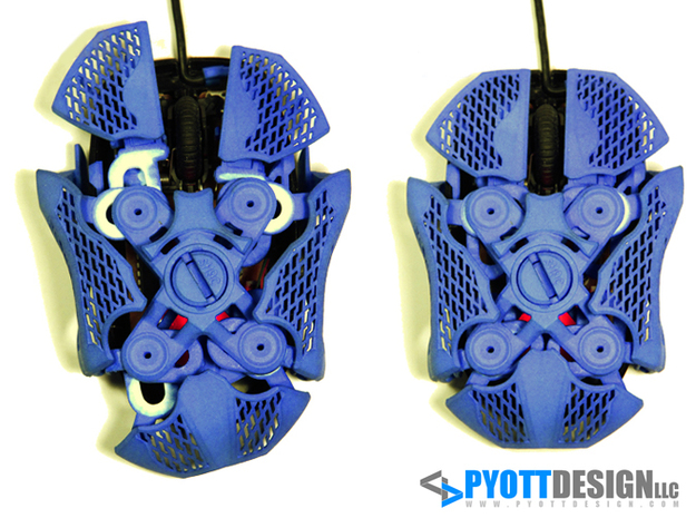 Statial Adjustable Mouse 3d printed Assembled with surfaces extended (left) and not adjusted (right)