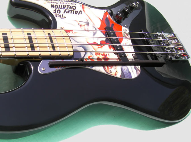 ThumbRail - Fender Geddy Lee Jazz 3d printed Black Strong & Flexible on a Fender Geddy Lee Jazz Bass. This pic is of the prototype. See the renders for the newer, thinner version.