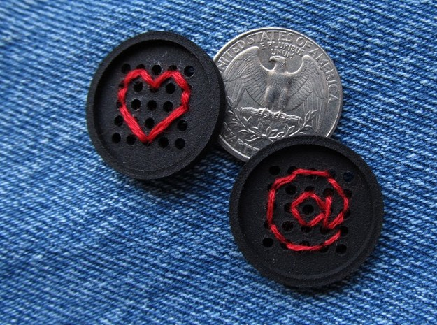 "1"" embroidery buttons (dozen) 3d printed embroidered with heart and @ sign"