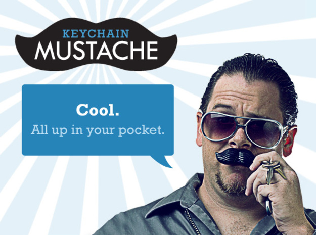 Keychain Mustache 3d printed Cool. All Up In Your Pocket