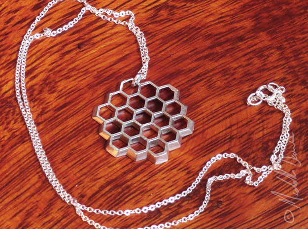 Honeycomb Slice Pendant 3d printed Chain not included.