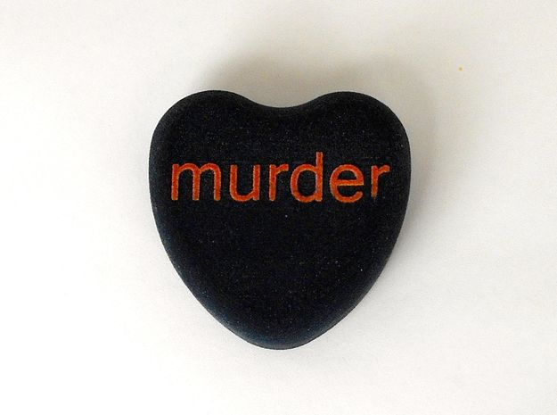 "Candy Heart ""murder"" - Black/Red 3d printed"