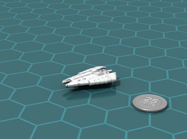 Tusokk Mace class Dreadnought 3d printed Render of the model, with a virtual quarter for scale.