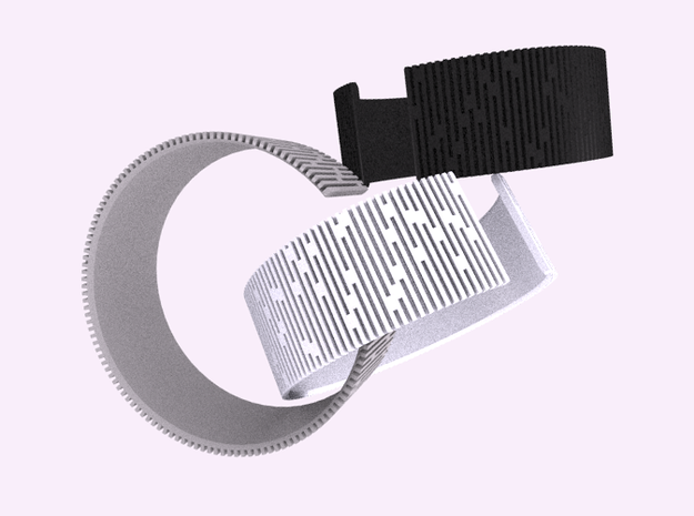 Crescent Bracelet (S) 3d printed Alumide and Black & White plastics.