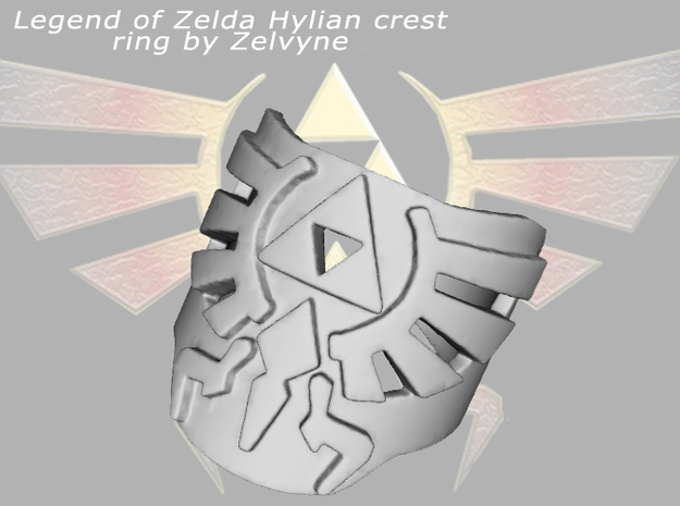 Zelda hylian crest ring (med/adjustable) 3d printed