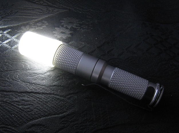 Flashlight Diffuser (flat top) 3d printed Diffuser mounted on a stainless steel AAA Maratac flashlight (not included)