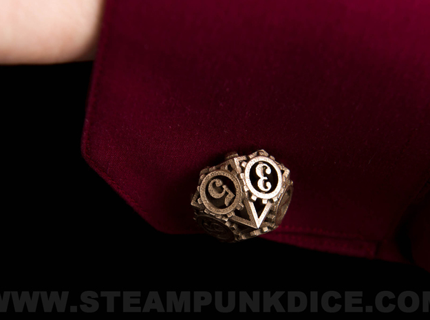 Steampunk Gear Cufflinks 3d printed Stainless Steel