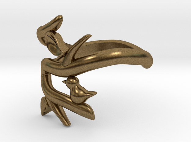 Bird on a Branch Ring 3d printed
