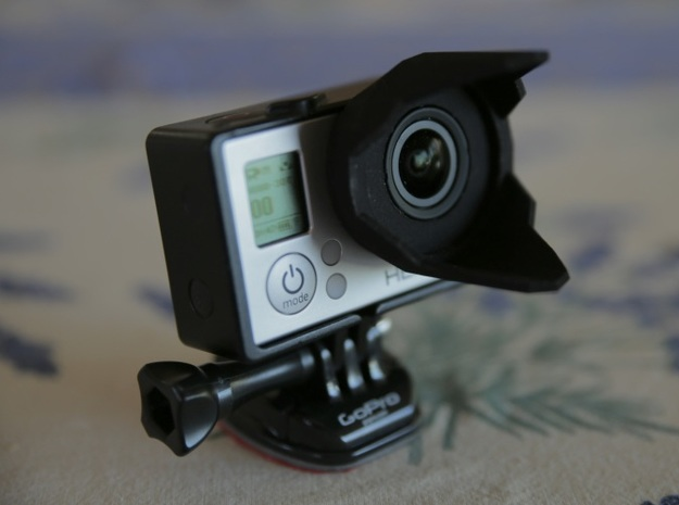 Sun hood and 37mm filter holder for GoPro 3d printed HERO3 Sunhood without filter attached