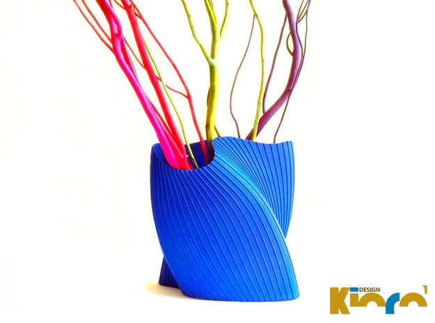 "wave vase ""Touch"" 3d printed Royal Blue Strong & Flexible Polished"