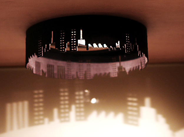 City Lights 3d printed Lamp shade with city skyline