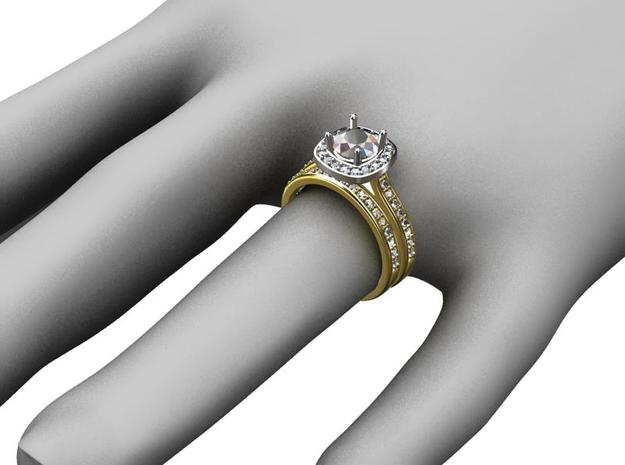 Diamond Halo Engagement Ring 3d printed Wedding Band is a separate listing