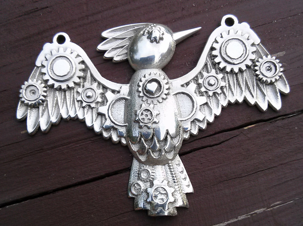 Steampunk Bird Pendant 3d printed Shown in Silver Glossy