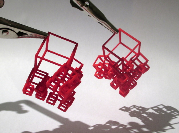 1+4+4×4 Cubes Earrings 3d printed