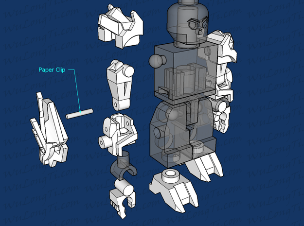 Kreon Addon - Primo Megs 3d printed 1st connect the upper arm and fore arm using a paperclip, then attach to the torso before attaching the shoulder cap. Minifigure not included