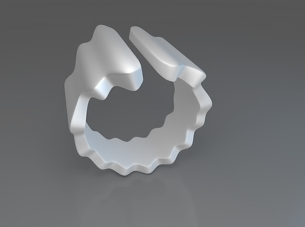 Waves ring (Size 14) 3d printed