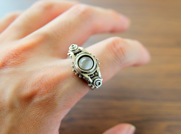 """Gear of Moon Stone"" Silver Ring -Not for sale- 3d printed"