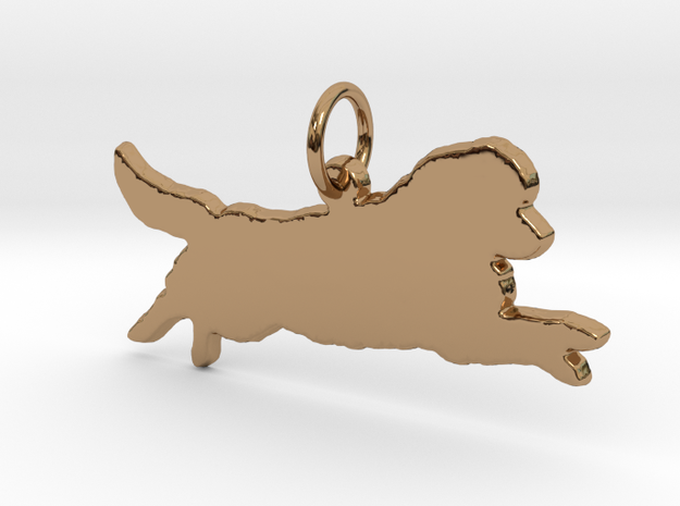 Newfoundland leaping dog silhouette pendant 3d