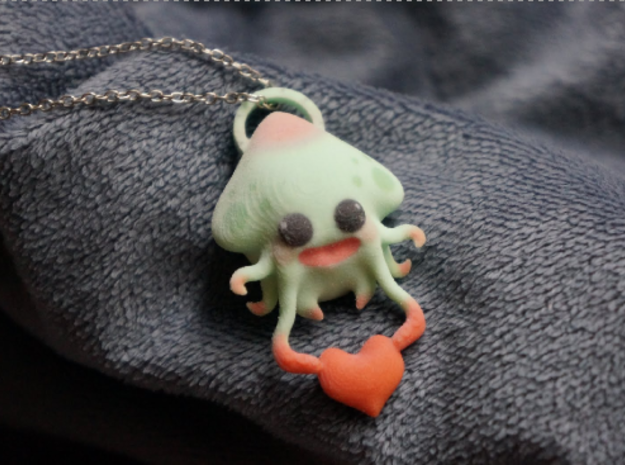 Squid Necklace Charm 3d printed