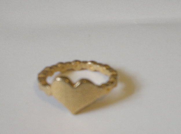 My beautiful heart Ring Size 8 3d printed glossy gold plated finish
