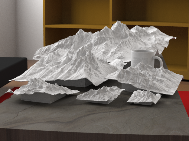 "4'' Grand Tetons Terrain Model, Wyoming, USA 3d printed Rendering of all available sizes: 3"", 4"", 6"", 8"", 12"", 20"""