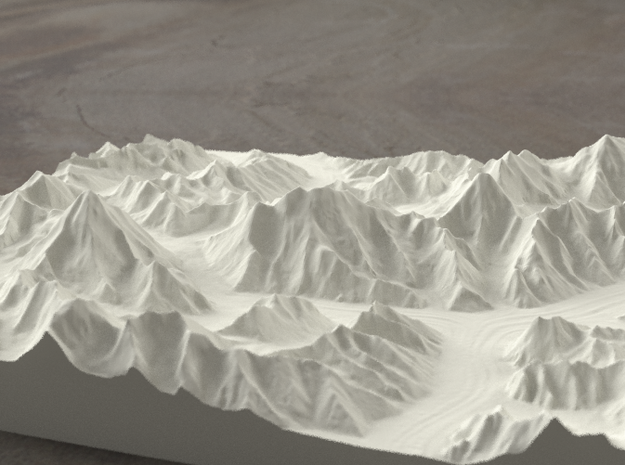8''/20cm Baltoro Glacier and K2, Sandstone 3d printed Radiance rendering from the West, looking up the Baltoro to Gasherbrum IV