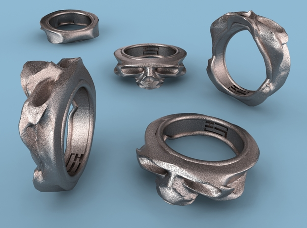 Splitted Skull ring 3d printed Stainless Steel render