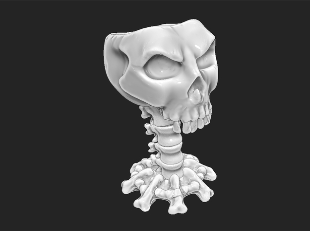 Decorative skull for holding items 3d printed Wireframed model shown in white
