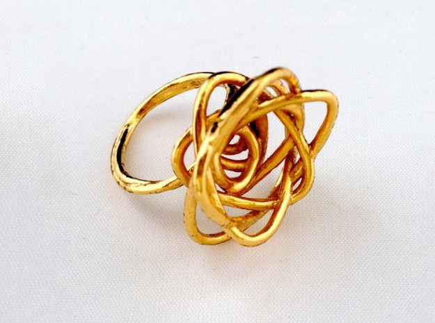 Sprouted Spiral Ring (Size 7) 3d printed Gold Plated Brass
