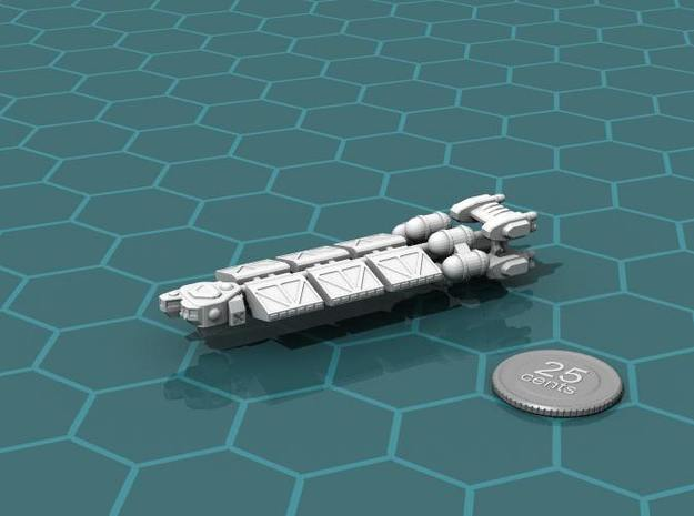 Bulk Freighter 3d printed Render of the model, with a virtual quarter for scale.