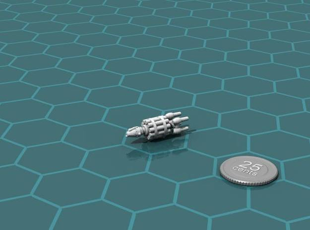 Belter Missile Boat v2 3d printed Render of the model, with a virtual quarter for scale.