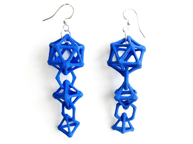 Platonic Progression Earrings - Bone 3d printed Earrings shown printed in blue Strong and Flexible, finished with silver-plated fishhook earwires