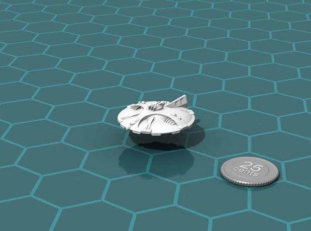 Martian Icaria class Strike Cruiser 3d printed Render of the model, with a virtual quarter for scale.