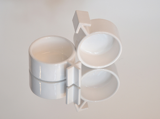 Cuple Cups (male) 3d printed couple cups detail image