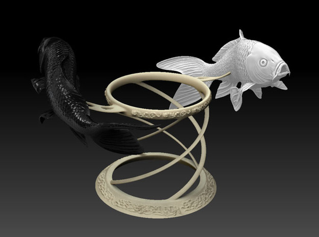 Yin Yang Koi Set 3d printed Previous design, the holder has changed due to printable issue
