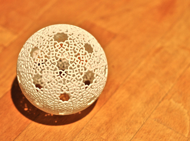 Starball with kites 3d printed Printed in White, Strong and Flexible.