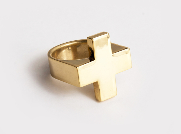 Plus Ring 3d printed Gold Plated Brass